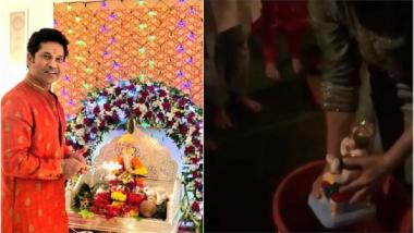 व्हिडिओ : सचिन तेंडूलकरने असे केले बाप्पाचे विसर्जन