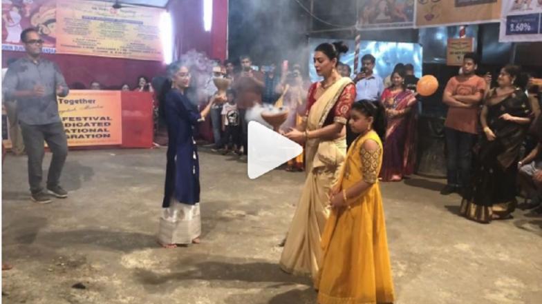 Video : दुर्गापूजेत सुष्मिता सेनचा मुलींसोबत पारंपरिक नृत्याविष्कार