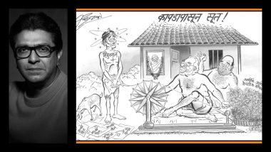 मोदी,शाहांच्या चरख्यासाठी हिंदुस्तानच्या जनतेचे 'वस्त्रहरण'; राज ठाकरे यांची व्यंगचित्रातून टीका