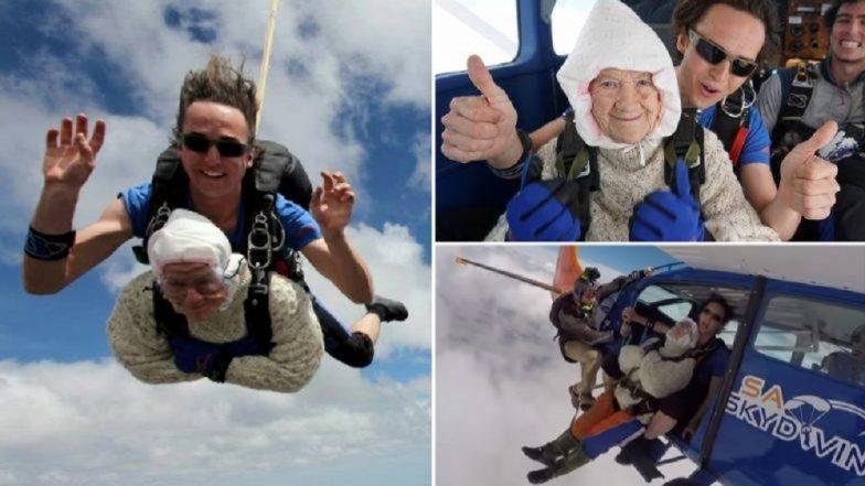 Oldest Skydiver in the World: 102 वर्षांच्या आजींचे स्कायडायव्हिंग (Video)