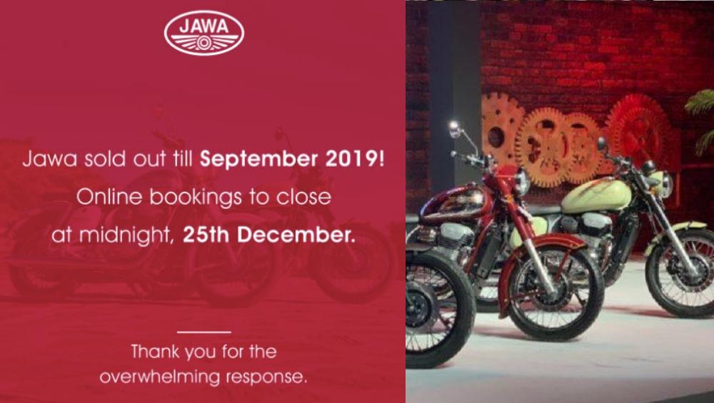 Jawa Motorcycles ला तुफान प्रतिसाद, सप्टेंबर 2019 पर्यंतची बुकिंग फुल्ल झाल्याने आज मध्यरात्रीपासून ऑनलाइन बुकिंग बंद!