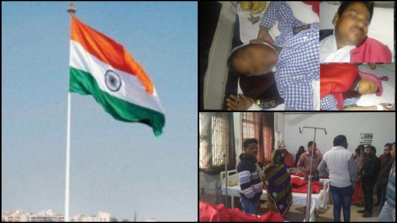 ध्वजारोहण करताना अपघात; ध्वजस्तंभात उतरला 11 हजार व्होल्ट करंट, मुख्याध्यापकासह विद्यार्थी जखमी