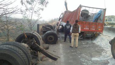 मुंबई-नाशिक महामार्गावर कंटेनर उलटल्याने वाहतूक विस्कळीत