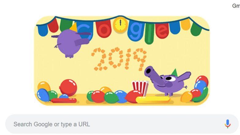 Happy New Year 2019 Google Doodle : 2019 च्या पहिल्या दिवशी गुगलने डुडल साकारत केलं नववर्षाचं स्वागत!
