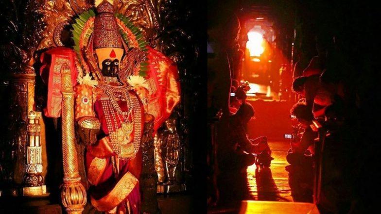 Kolhapur Kirnotsav 2019:  कोल्हापूर महालक्ष्मी मंदीरामध्ये वर्षातील पहिल्या किरणोत्सवाला सुरूवात, मूर्तीच्या मानेपर्यंत पोहचली सूर्यकिरणं  (Photo)
