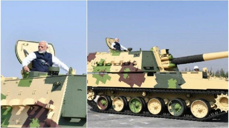 K-9 Howitzer तोफेमधून सफर करताना पंतप्रधान नरेंद्र मोदी (Video)