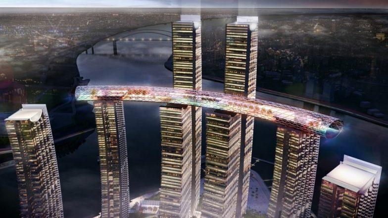 नवे आश्चर्य; चीनमध्ये बनत आहे जगातील पहिली आडवी इमारत, पहा व्हिडीओ