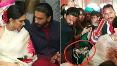 मुंबई: पत्नी दीपिका पादुकोण हिची चप्पल हातात घेऊन लग्नात चक्क रणवीर सिंग फिरताना दिसला (Photo)