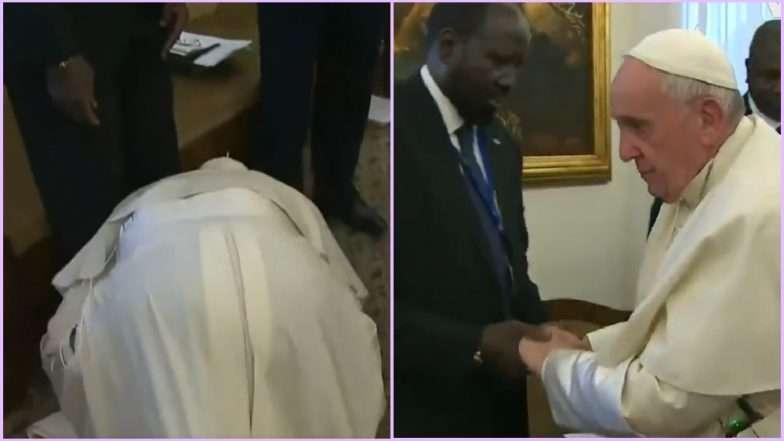 गुडघ्यावर वाकून व्हॅटिकनचे पोप फ्रान्सिस यांनी दक्षिण सुदानच्या नेत्यांच्या पायांचे चुंबन घेतले, व्हिडीओ व्हायरल