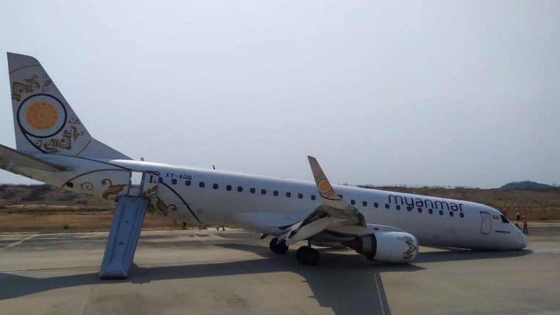 म्यानमार: नोज लॅन्डिंग गियर फेल झालेलं असतानाही वैमानिकाने सुरक्षितपणे केलं विमानचं लॅन्डिग; व्हिडिओ सोशल मीडियामध्ये व्हायरल (Watch Video)