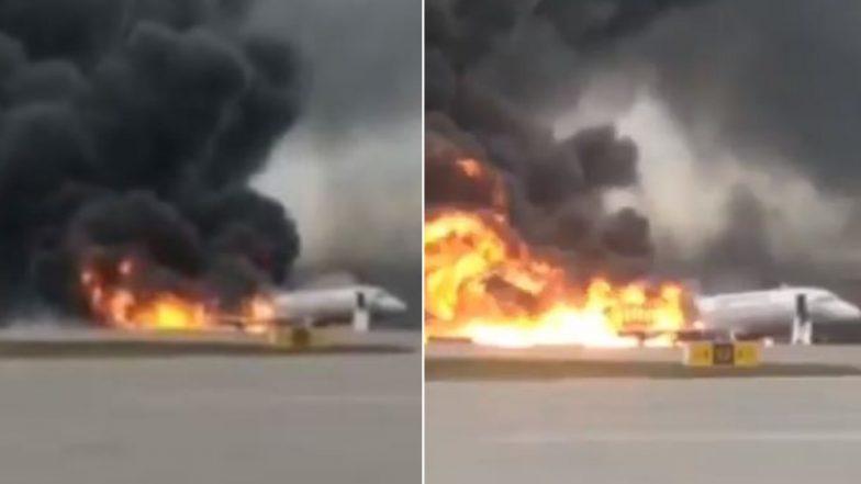 रशिया: मॉस्को येथे एमर्जन्सी लँन्डिंगवेळी सुखोई सुपरजेट 100 विमानाला आग, 41 जणांचा मृत्यू