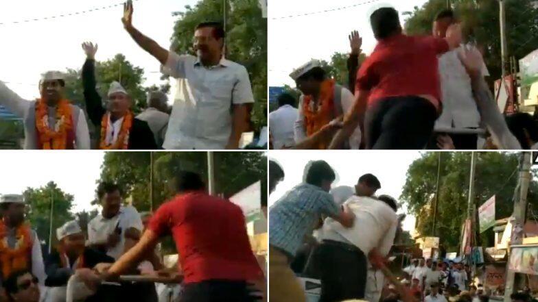 दिल्ली: मोतीनगर येथील रोड शो दरम्यान दिल्लीचे मुख्यमंत्री अरविंद केजरीवाल यांच्या श्रीमुखात भडकवली (Video)