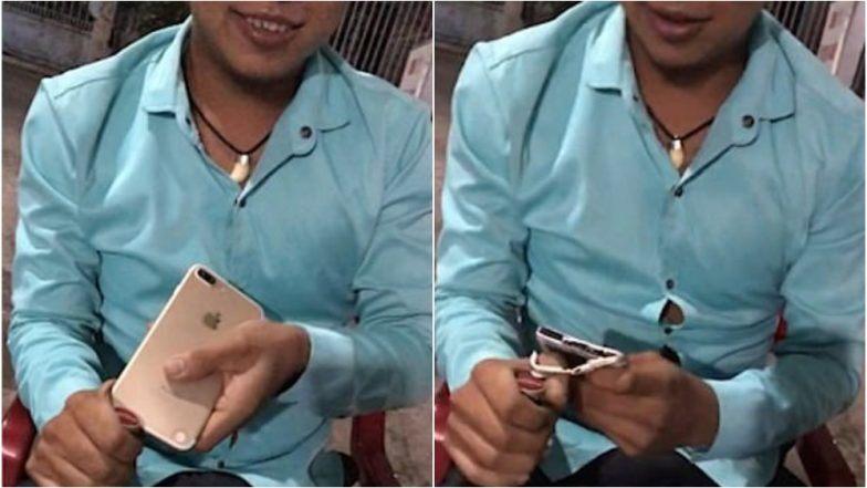 बिअर बॉटल ओपन करण्याच्या नादात iphone तुटला (Viral Video)