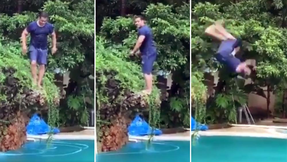 योगदिनी सलमान खान याचा स्विमिंग पूल मध्ये स्टंट; व्हिडिओची सोशल मीडियात धूम