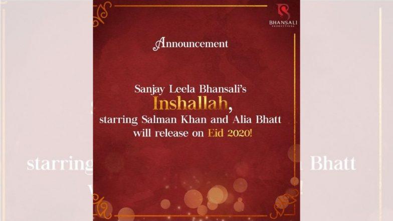 2020 च्या ईदला  येणार सलमान खानचा 'इंशाअल्लाह' हा चित्रपट, सहअभिनेत्री आलिया भट ने केले ट्विट