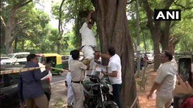 राहुल गांधी यांनी राजीनामा मागे घ्यावा म्हणून काँग्रेस मुख्यालयाबाहेर कार्यकर्त्याचा आत्महत्येचा प्रयत्न