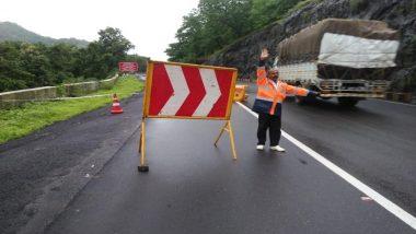 मुंबई-नाशिक मार्गावरील कसारा घाटातील रस्ता खचला; एकेरी वाहतुक सुरु