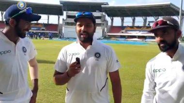 IND vs WI 1st Test: वेस्ट इंडिजविरुद्ध विजयानंतर रोहित शर्मा याने घेतली अजिंक्य रहाणे-जसप्रीत बुमराह यांची मुलाखत, पहा हा व्हिडिओ