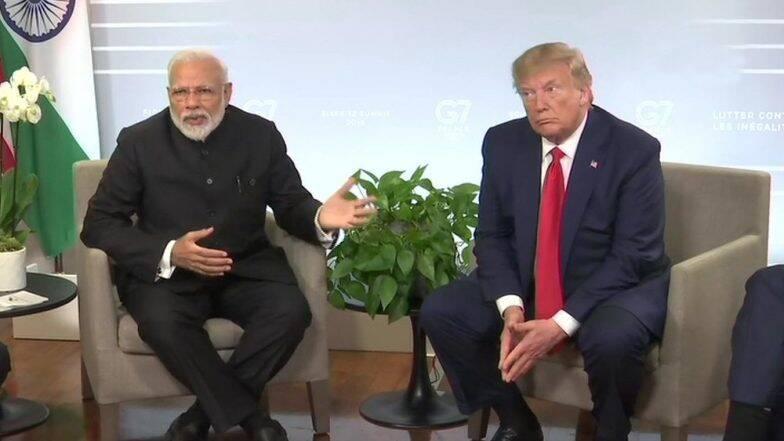 जी-7 बैठकीत पीएम नरेंद्र मोदी आणि डोनाल्ड ट्रम्प यांची भेट; काश्मीर प्रश्नाबाबत अमेरिकेची माघार