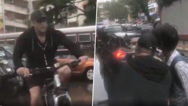 मुंबईच्या पावसात सलमान खान सायकलस्वारी करत पोहचला 'दबंग 3' च्या सेटवर (Watch Video)