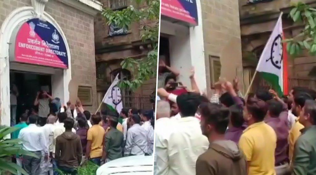 महाराष्ट्र राज्य सहकारी बँक घोटाळा: शरद पवार यांच्याविरोधी कारवाईच्या निषेधार्थ मुंबईतील ED कार्यालयाबाहेर राष्ट्रवादी कॉंग्रेस पक्षाची निदर्शन