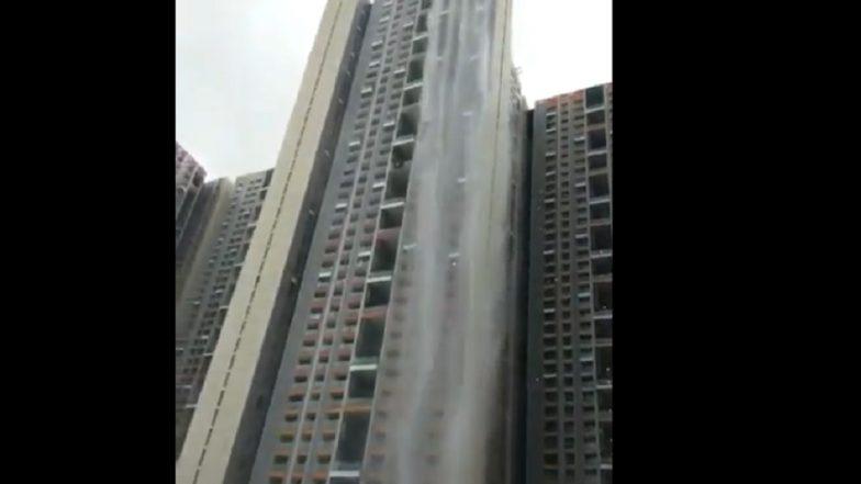 Mumbai Rains: नवीन कफ परेड येथील गगनचुंबी इमारतीला आले धबधब्याचे रूप; नेटकरी देखील झाले चकित, Video