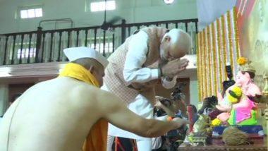 नरेंद्र मोदी मुंबईमध्ये दाखल; महाराष्ट्र दौरा सुरू करण्यापूर्वी घेतले लोकमान्य सेवा संघ टिळक मंदीर येथील गणपतीचं दर्शन