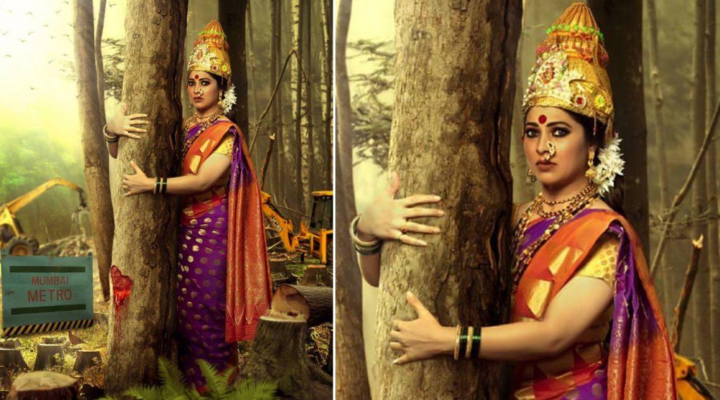 आरे वृक्षतोडीवर दुर्गाष्टमी दिवशी 'गावदेवी' च्या अंदाजात अभिनेत्री तेजस्विनी पंडित चं हटके फोटोशूट