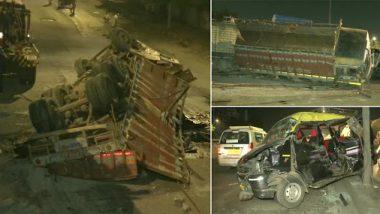 पश्चिम दृतगती महामार्गावर अपघात; भरधाव वेगात येणारा ट्रक पडला उड्डाणपुलावरुन , अपघातात 4 प्रवासी जखमी