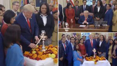 US President Trump Celebrates Diwali: डोनाल्ड ट्रम्प यांनी भारतीय वंशाच्या लोकप्रतिनिधीबरोबर 'व्हाईट हाऊस'मध्ये साजरी केली दिवाळी