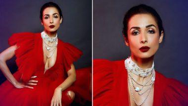 बॉलिवूड अभिनेत्री मलायका अरोराने शेअर केले 'डिप नेक रेड गाऊन'मधील बोल्ड फोटो