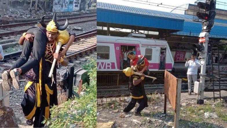 मुंबई: रेल्वे रूळांवर अवतरला होता 'जीव वाचवणारा' यमदूत! रेल्वे सुरक्षेबाबत जनजागृतीसाठी अनोखा उपक्रम