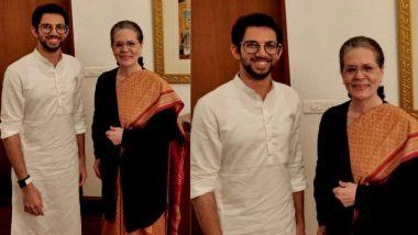 आदित्य ठाकरे व सोनिया गांधी यांची दिल्लीत भेट; उद्धव ठाकरेंच्या मुख्यमंत्रीपदाच्या शपथविधीसाठी दिले खास निमंत्रण