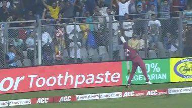 IND vs WI 3rd T20I: एविन लुईस याची शानदार फिल्डिंग, रोहित शर्मा याने षटकारासाठी मारलेला चेंडू पकडण्याच्या प्रयत्नाला Netizens कडून दाद, पाहा हा Video