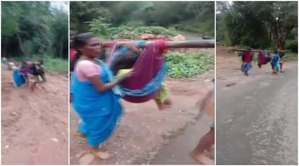 तमिळनाडू: रुग्णवाहिकेसाठी रस्ता नसल्याने गर्भवती महिलेला कापडी झोळीतून रुग्णालयात दाखल केले (Video)