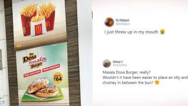 McDonald's मेन्यू कार्डमध्ये आला मसाला डोसा बर्गर; नेटक-यांनी ट्विटरवर दिल्या संमिश्र प्रतिक्रिया