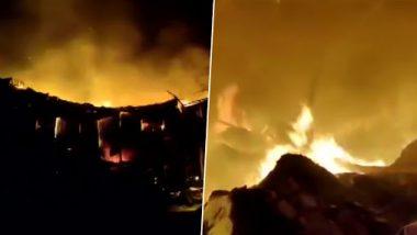 ठाणे: मुंब्रा परिसरातील खान कंपाऊंड येथील 7 गोदामे आगीत जळून खाक