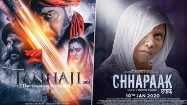 Chhapaak vs Tanhaji Box Office First Day Collection: 'तानाजी' चित्रपटाचा बॉक्स ऑफिसवर धुरळा; पहिल्या दिवशी 15 कोटींची कमाई करत 'छपाक'ला टाकलं मागं