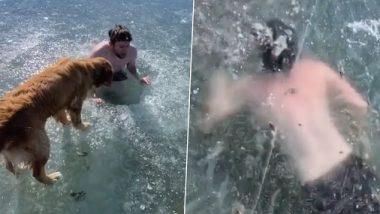 बर्फ पडलेल्या नदीत टिकटॉक व्हिडिओ बनवण्यासाठी गेलेल्या तरुणाचा थोडक्यात वाचला जीव; पहा थरारक व्हिडिओ