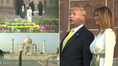 अमेरिकेचे राष्ट्राध्यक्ष डोनाल्ड ट्रम्प आणि पत्नी मेलेनिया 'ताजमहल' येथे पोहचले