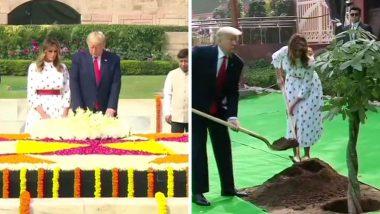 दिल्ली: डोनाल्ड ट्र्म्प आणि मेलानिया ट्र्म्प यांच्याकडून 'भारत-अमेरिका' मैत्रीचं प्रतिक म्हणून राजघाटावर वृक्षारोपण; महात्मा गांधीजींच्या स्मृतीला अभिवादन