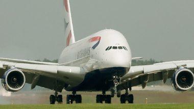 Etihad Airbus A380 विमान Dennis वादळमुळे लॅन्ड करताना एका बाजुला झुकले; व्हिडीओ व्हायरल