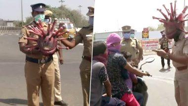 तामिळनाडू: कोरोना व्हायरसप्रमाणे दिसणारे हेल्मेट घालून चेन्नईतील पोलिस कर्मचाऱ्यांनी नागरिकांना केलं घराबाहेर न पडण्याचं आवाहन; पहा फोटो
