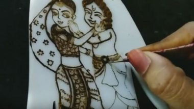 Holi Special Mehendi Designs:  होळी सणाच्या निमित्ताने राधा-कृष्णा मेहंदीच्या स्वरूपात कशी काढाल?  (Watch Video)
