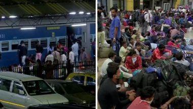 मुंबई: कोरोनाच्या भीतीमुळे मूळ गावी परतण्यासाठी नागरिकांची रेल्वे स्थानकांवर तोबा गर्दी