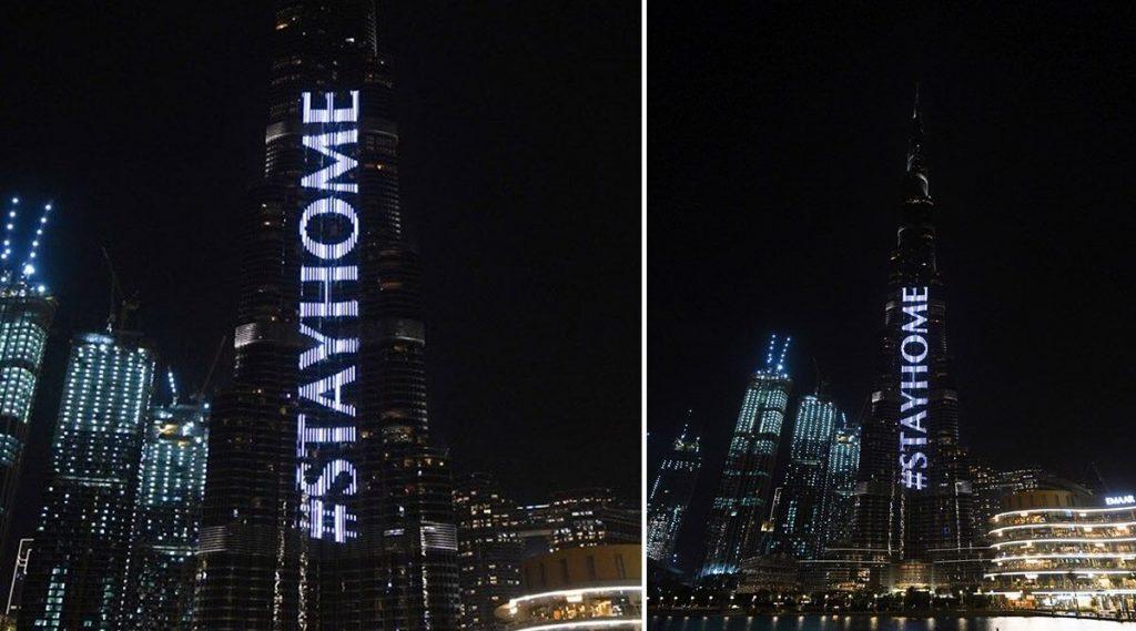 दुबई: Coronavirus च्या पार्श्वभूमीवर Burj Khalifa वर करण्यात आलेल्या अद्भूत रोषणाईच्या माध्यमातून नागरिकांना देण्यात आला घरी राहण्याचा सल्ला