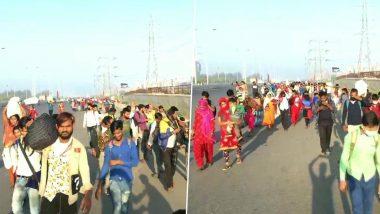 Coronavirus Lockdown मुळे बेरोजगार कामगारांची घराच्या दिशेने धाव; घर गाठण्यासाठी कुटुंबासह पायपीट (Watch Video)