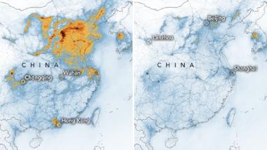 Coronavirus Impact: कोरोना व्हायरसमुळे चीनमधील प्रदूषणाच्या पातळीत लक्षणीय घट; NASA ने प्रसिद्ध केले सॅटेलाईट फोटो