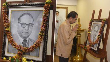 महाराष्ट्राचे मुख्यमंत्री उद्धव ठाकरे यांनी डॉ. बाबासाहेब आंबेडकर यांच्या प्रतिमेस पुष्पहार अर्पण करून केले अभिवादन