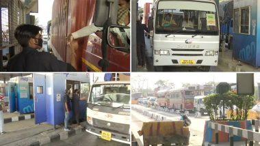 नवी मुंबई: NHAI कडून टोल वसुली सुरु झाल्यानंतर वाशी टोल प्लाझावर गाड्यांच्या लांबच लांब रांगा (See Pics)